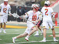 College Park, MD - April 15, 2018: Maryland Terrapins Jared Bernhardt (10) attempts a shot during game between Rutgers and Maryland at  Capital One Field at Maryland Stadium in College Park, MD.  (Photo by Elliott Brown/Media Images International)