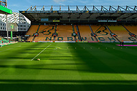 27th Ocotber 2019; Carrow Road, Norwich, Norfolk, England, English Premier League Football, Norwich versus Manchester United; Norwich City pitch stands ready for kick off - Strictly Editorial Use Only. No use with unauthorized audio, video, data, fixture lists, club/league logos or 'live' services. Online in-match use limited to 120 images, no video emulation. No use in betting, games or single club/league/player publications