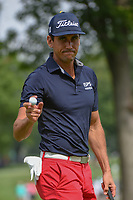 Rafael Cabrera Bello (ESP) after sinking his putt on 2 during 1st round of the World Golf Championships - Bridgestone Invitational, at the Firestone Country Club, Akron, Ohio. 8/2/2018.<br /> Picture: Golffile | Ken Murray<br /> <br /> <br /> All photo usage must carry mandatory copyright credit (© Golffile | Ken Murray)