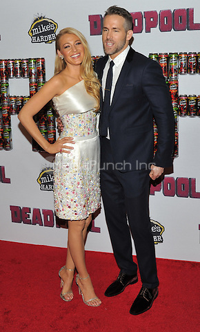 New York,NY-FEBRUARY 08: Blake Lively, Ryan Reynolds at the 'Deadpool' fan event at AMC Empire Theatre on February 8, 2016 in New York City. Credit: John Palmer/MediaPunch