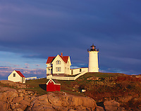 "York County, ME:  Cape Neddick (""Nubble"") Light Station (1879) under approaching storm clouds"