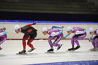 SCHAATSEN: HEERENVEEN: 18-09-2014, IJsstadion Thialf, Topsporttraining, Mark Tuitert (ex-topschaatser), Ronald Mulder, Thomas Krol, ©foto Martin de Jong