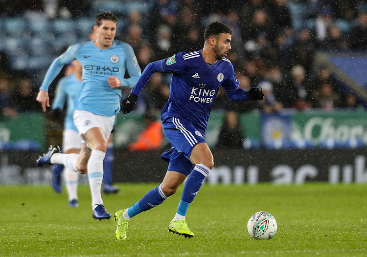 Leicester City's Rachid Ghezzal breaks<br /> <br /> Photographer Andrew Kearns/CameraSport<br /> <br /> English League Cup - Carabao Cup Quarter Final - Leicester City v Manchester City - Tuesday 18th December 2018 - King Power Stadium - Leicester<br />  <br /> World Copyright © 2018 CameraSport. All rights reserved. 43 Linden Ave. Countesthorpe. Leicester. England. LE8 5PG - Tel: +44 (0) 116 277 4147 - admin@camerasport.com - www.camerasport.com