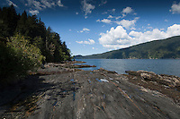 Rocky coastline off West coast highway at Port Renfrew.Vancouver Island, British Columbia, Canada.