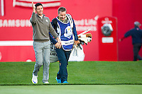 Rory McIlroy (Team Europe) on the 1st during the Saturday morning Foursomes at the Ryder Cup, Hazeltine national Golf Club, Chaska, Minnesota, USA.  01/10/2016<br /> Picture: Golffile | Fran Caffrey<br /> <br /> <br /> All photo usage must carry mandatory copyright credit (&copy; Golffile | Fran Caffrey)