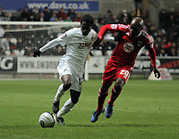 ATTENTION SPORTS PICTURE DESK<br /> Pictured L-R: Nathan Dyer of Swansea against Jamal Campbell-Ryce of Bristol<br /> Re: npower Championship, Swansea City FC v Bristol City Football Club at the Liberty Stadium, south Wales. Wednesday 10 November 2010