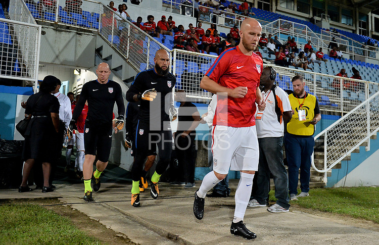 Couva, Trinidad & Tobago - Tuesday Oct. 10, 2017: Brad Guzan, Tim Howard, Michael Bradley during a 2018 FIFA World Cup Qualifier between the men's national teams of the United States (USA) and Trinidad & Tobago (TRI) at Ato Boldon Stadium.
