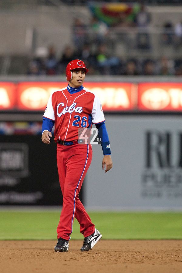 16 March 2009: #26 Leonys Martin of Cuba is seen on second base during the 2009 World Baseball Classic Pool 1 game 3 at Petco Park in San Diego, California, USA. Cuba wins 7-4 over Mexico.