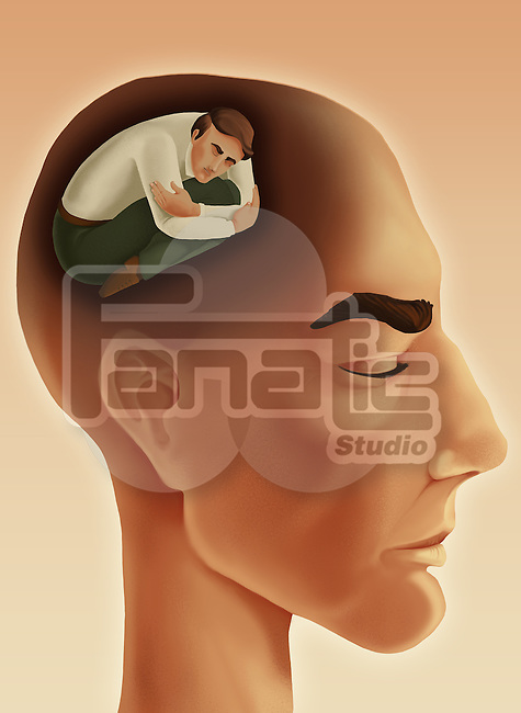 Illustrative image of thoughtful man with eyes closed representing introvert personality