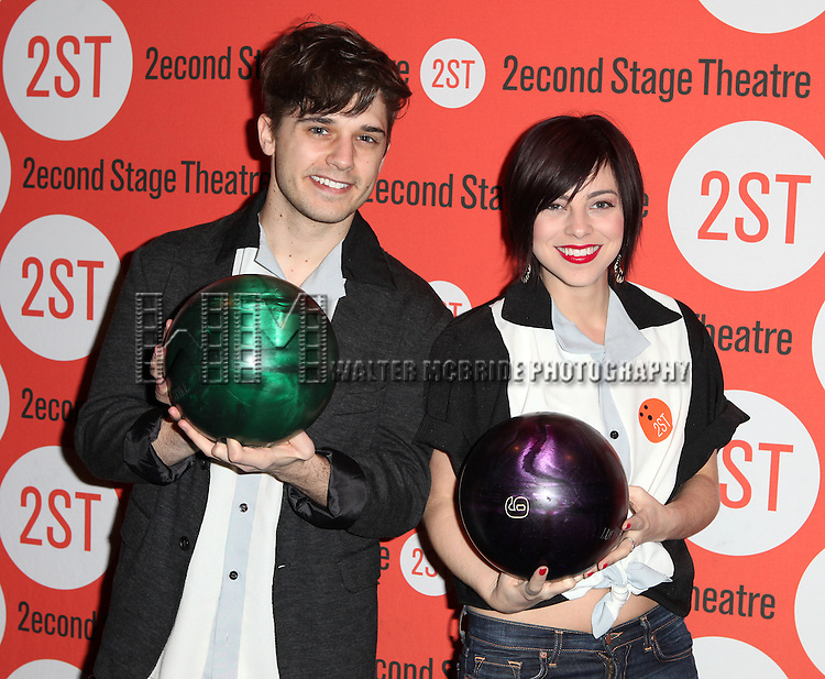 Andy Mientus & Krysta Rodriguez attending the Second Stage Theatre's 26th Annual All-Star Bowling Classic at Lucky Strike Lanes & Lounge in New York City on 2/3/2013