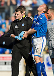 St Johnstone v Partick Thistle...28.09.13      SPFL<br /> Steven Anderson clearly in pain with a dislocated thumb<br /> Picture by Graeme Hart.<br /> Copyright Perthshire Picture Agency<br /> Tel: 01738 623350  Mobile: 07990 594431