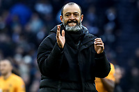 1st March 2020; Tottenham Hotspur Stadium, London, England; English Premier League Football, Tottenham Hotspur versus Wolverhampton Wanderers; Wolverhampton Wanderers Manager Nuno celebrates his teams win