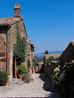 Homes and stone path in Civita di Bagnoregio, Ital