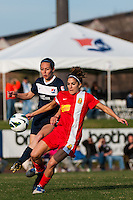 Western New York Flash midfielder Angela Salem (6) and Sky Blue FC midfielder Katy Freels (Frierson) (23). Sky Blue FC defeated the Western New York Flash 1-0 during a National Women's Soccer League (NWSL) match at Yurcak Field in Piscataway, NJ, on April 14, 2013.