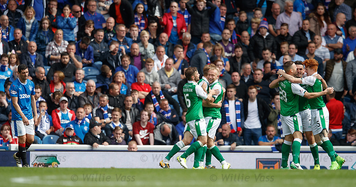 Hibs celebrate the second goal