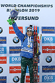 17th March 2019, Ostersund, Sweden; IBU World Championships Biathlon, day 9, mass start men; Dominik Windisch (ITA) celebrates on podium