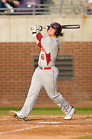 Dallas Tarleton #6 of the Elon Phoenix follows through on his swing versus the East Carolina Pirates at Clark-LeClair Stadium March 29, 2009 in Greenville, North Carolina. (Photo by Brian Westerholt / Four Seam Images)