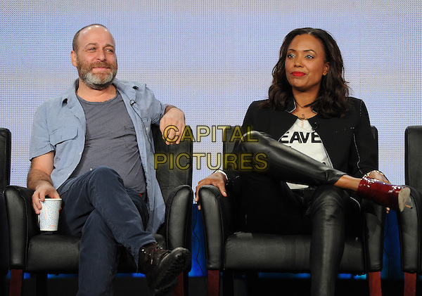 2015 FX WINTER TCA: (L-R) Cast members H. Jon Benjamin and Aisha Tyler during the ARCHER panel at the 2015 FX WINTER TCA on Sunday, Jan. 18 at the Langham Hotel in Pasadena CA.   <br /> CAP/MPI/PGFM<br /> &copy;PGFM/MPI/Capital Pictures