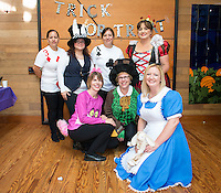 Human Resources dress as Alice in Wonderland costumes. Photo from the Boo Bash in the Tiger Cooler, Oct. 30, 2015.<br />