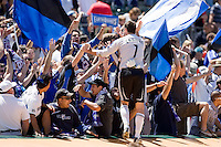 Joe Cannon celebrates with fans after the game. San Jose Earthquakes defeated LA Galaxy 3-2. August 3, 2008, McAfee Coliseum, Oakland, CA.