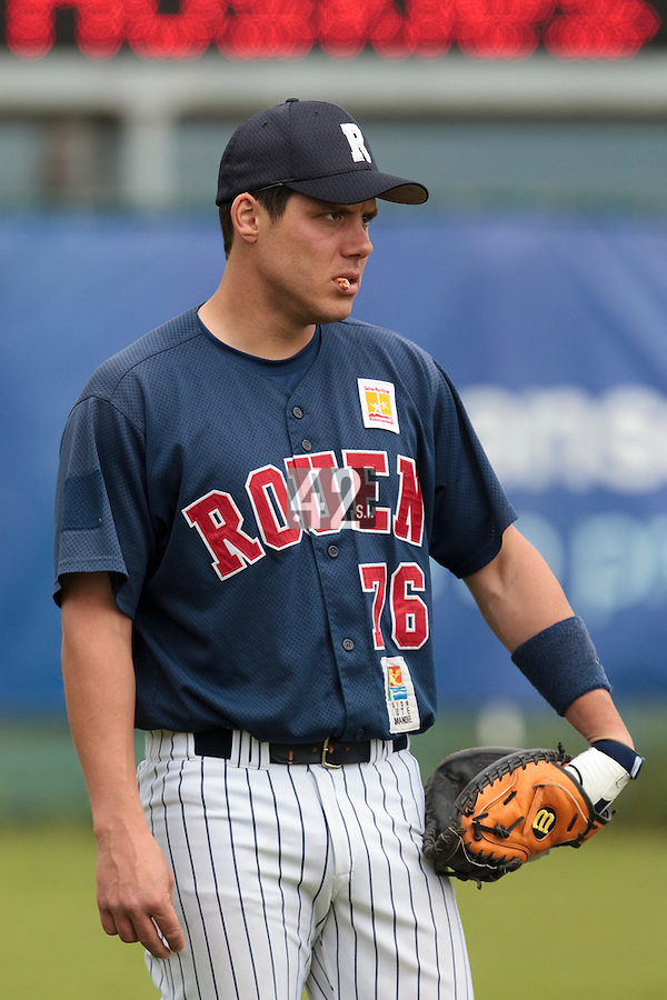 03 June 2010: Catcher Boris Marche of Rouen is seen prior to the 2010 Baseball European Cup match won  8-4 by C.B. Sant Boi over the Rouen Huskies, at the Kravi Hora ballpark, in Brno, Czech Republic.