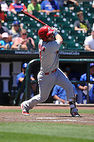 Memphis Redbirds Patrick Wisdom (4) swings during the Pacific Coast League game against the Iowa Cubs at Principal Park on June 7, 2016 in Des Moines, Iowa.  Iowa won 6-5.  (Dennis Hubbard/Four Seam Images)