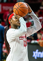 COLLEGE PARK, MD - JANUARY 26: Kaila Charles #5 of Maryland takes a shot during warm up before the game during a game between Northwestern and Maryland at Xfinity Center on January 26, 2020 in College Park, Maryland.