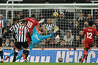 Jordan Ayew of Swansea City scores the opening goal of the game during Newcastle United vs Swansea City, Premier League Football at St. James' Park on 13th January 2018