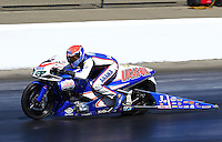 Jul. 28, 2013; Sonoma, CA, USA: NHRA pro stock motorcycle rider Hector Arana Jr during the Sonoma Nationals at Sonoma Raceway. Mandatory Credit: Mark J. Rebilas-