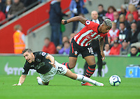 Burnley's Stephen Ward is fouled by Southampton's Mario Lemina<br /> <br /> Photographer Kevin Barnes/CameraSport<br /> <br /> The Premier League - Southampton v Burnley - Sunday August 12th 2018 - St Mary's Stadium - Southampton<br /> <br /> World Copyright &copy; 2018 CameraSport. All rights reserved. 43 Linden Ave. Countesthorpe. Leicester. England. LE8 5PG - Tel: +44 (0) 116 277 4147 - admin@camerasport.com - www.camerasport.com