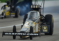 Sept. 1, 2012; Claremont, IN, USA: NHRA top fuel dragster driver Tony Schumacher during qualifying for the US Nationals at Lucas Oil Raceway. Mandatory Credit: Mark J. Rebilas-