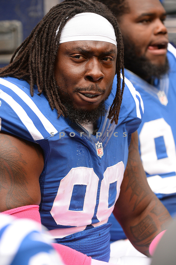 Indianapolis Colts Ricky Jean Francois (99) during a game against the Baltimore Ravens on October 5, 2014 at Lucas Oil Stadium in Indianapolis, IN. The Colts beat the Ravens 20-13.