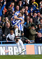 Sheffield Wednesday v Cardiff .Sky Bet Championship ....... Wednesdays doublke scorer Gary Hooper is congratulated