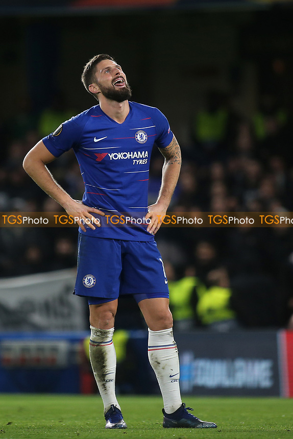 Chelsea's Olivier Giroud reacts as the referee blows the whistle for half-time during Chelsea vs PAOK Salonika, UEFA Europa League Football at Stamford Bridge on 29th November 2018