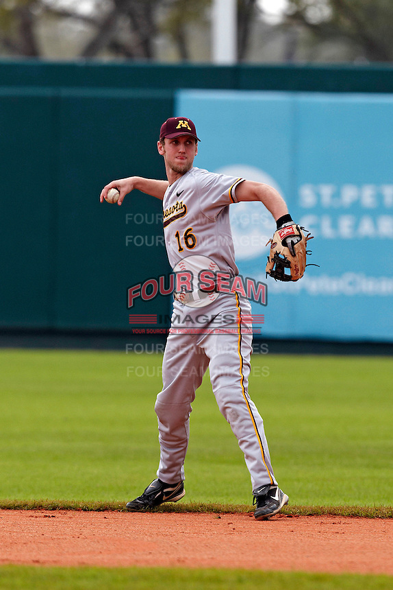 Minnesota Gophers shortstop Matt Puhl #16 throws to first during a game against the USF Bulls at the Big Ten/Big East Challenge at Al Lang Stadium on February 19, 2012 in St. Petersburg, Florida.  (Mike Janes/Four Seam Images)