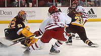 "6' 1"" junior Jinelle Zaugg scores the Badgers' second goal in Saturday's win over #4 Minnesota"