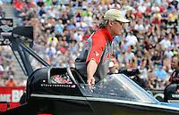 Jun. 2, 2012; Englishtown, NJ, USA: Crew chief Richard Hogan directs NHRA top fuel dragster driver Steve Torrence during qualifying for the Supernationals at Raceway Park. Mandatory Credit: Mark J. Rebilas-