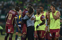 MEDELLIN -COLOMBIA - 16-07-2016: Los jugadores de Deportes Tolima, celebran el gol anotado a Atletico Nacional durante partido entre Atletico Nacional y Deportes Tolima, por la fecha 4 de la Liga Águila II 2016 jugado en el estadio Atanasio Girardot de la ciudad de Medellin. / The players of Deportes Tolima, celebrate a goal scored to Atletico Nacional during a match between Atletico Nacional and Deportes Tolima, for the date 4 of the Aguila League II 2016 played at Atanasio Girardot stadium in Medellin city. Photo: VizzorImage / León Monsalve /Cont.