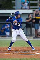 Colton Frabasilio (18) of the Burlington Royals at bat against the Greeneville Astros at Burlington Athletic Park on August 29, 2015 in Burlington, North Carolina.  The Royals defeated the Astros 3-1. (Brian Westerholt/Four Seam Images)