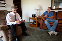 Brandon Nimmo, right, shares a laugh with his father, Ron Nimmo, during an interview on Tuesday, June 21, 2011, in the living room of his parents' Cheyenne, Wyo. home. The New York Mets selected Nimmo No. 13 overall in the first round of this year's MLB draft. Now the recent high school grad must decide whether to go pro or accept an offer to play baseball at Arkansas in the fall. (Photo by James Brosher)