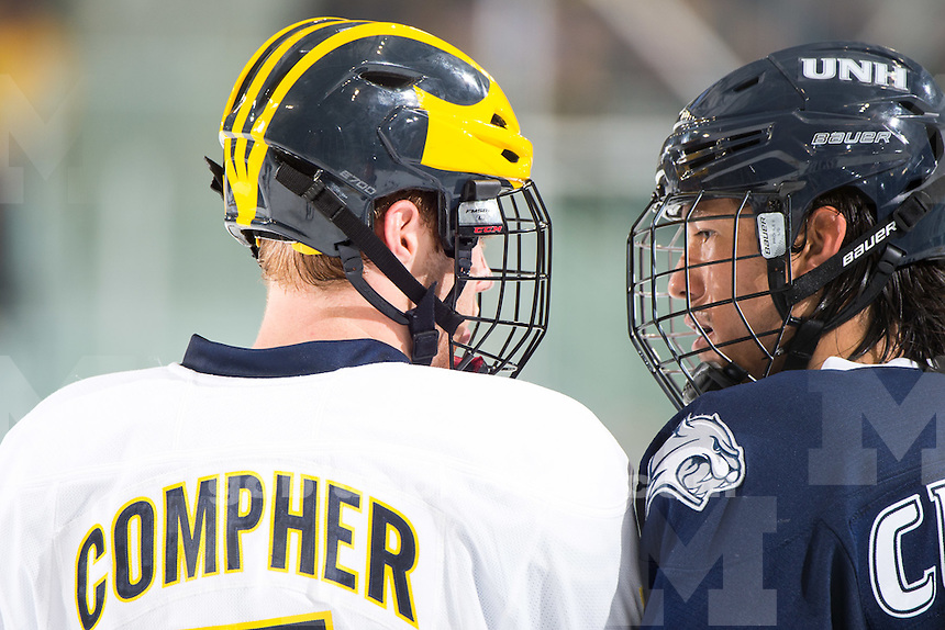 The University of Michigan hockey team defeats the University of New Hampshire, 2-1, at Yost Ice Arena in Ann Arbor on Oct. 18, 2014.