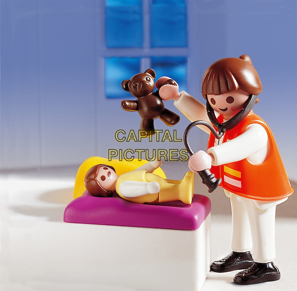 PLAYMOBIL.toy characters scene atmosphere gv general view doctor nurse baby stethoscope .*Editorial Use Only*.CAP/PLF.Supplied by Capital Pictures.