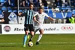 16.02.2020, Carl-Benz-Stadion, Mannheim, GER, 3. Liga, SV Waldhof Mannheim vs. FC Carl Zeiss Jena, <br /> <br /> DFL REGULATIONS PROHIBIT ANY USE OF PHOTOGRAPHS AS IMAGE SEQUENCES AND/OR QUASI-VIDEO.<br /> <br /> im Bild: Michael Schultz (SV Waldhof Mannheim #23) gegen Julian Guenther-Schmidt (FC Carl Zeiss Jena #27)<br /> <br /> Foto © nordphoto / Fabisch