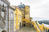 PORTUGAL, Sintra, a visitor is climbing the wall's stairs in Pena Palace