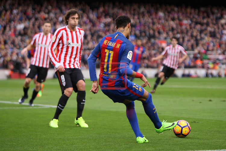 League Santander 2016/2017. Game: 21.<br /> FC Barcelona vs Athletic Club: 3-0.<br /> Iturraspe vs Neymar Jr.