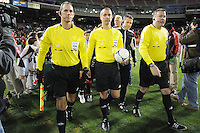 MLS referees entering the field. Sporting Kansas City defeated D.C. United  1-0 at RFK Stadium, Saturday March 10, 2012.