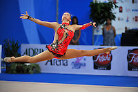 Frida Parnas of Norway performs with rope at 2010 Pesaro World Cup on August 27, 2010 at Pesaro, Italy.  Photo by Tom Theobald.