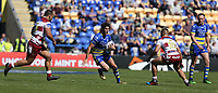 Warrington Wolves' Stefan Ratchford is tackled by  Wigan Warriors' Taulima Tautai and Willie Isa (right) <br /> <br /> Photographer Stephen White/CameraSport<br /> <br /> Rugby League - Coral Challenge Cup Sixth Round - Warrington Wolves v Wigan Warriors - Sunday 12th May 2019 - Halliwell Jones Stadium - Warrington<br /> <br /> World Copyright © 2019 CameraSport. All rights reserved. 43 Linden Ave. Countesthorpe. Leicester. England. LE8 5PG - Tel: +44 (0) 116 277 4147 - admin@camerasport.com - www.camerasport.com