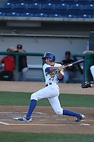 Tim Locastro (25) of the Rancho Cucamonga Quakes bats during a game against the High Desert Mavericks at LoanMart Field on August 3, 2015 in Rancho Cucamonga, California. Rancho Cucamonga defeated High Desert, 2-1. (Larry Goren/Four Seam Images)