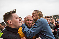 David Pipe of Newport County celebrates his side's win with fans on the pitch at full time during the Sky Bet League 2 match between Newport County and Notts County at Rodney Parade, Newport, Wales on 6 May 2017. Photo by Mark  Hawkins / PRiME Media Images.
